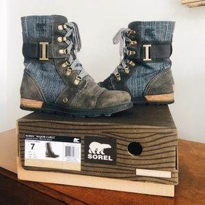 Sorel Major Carly Gray Denim Ankle boots
